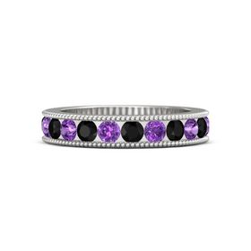 Sterling Silver Ring with Black Onyx & Amethyst