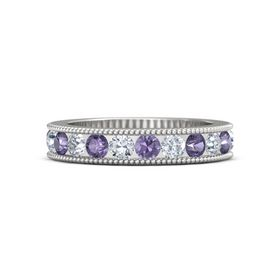 Sterling Silver Ring with Iolite and Diamond