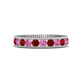 Sterling Silver Ring with Pink Tourmaline and Ruby