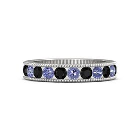 Sterling Silver Ring with Tanzanite and Black Onyx