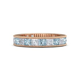 14K Rose Gold Ring with Aquamarine and Diamond