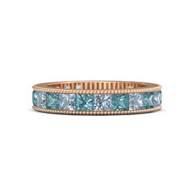 14K Rose Gold Ring with Blue Topaz and London Blue Topaz