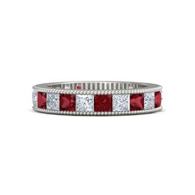 14K White Gold Ring with Ruby & Diamond