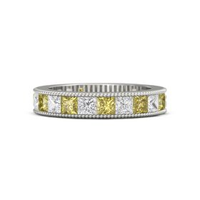 14K White Gold Ring with Yellow Sapphire and White Sapphire