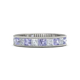 14K White Gold Ring with Tanzanite & Diamond