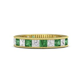 14K Yellow Gold Ring with Emerald & White Sapphire