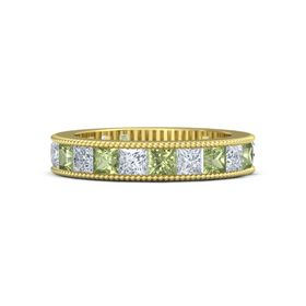 14K Yellow Gold Ring with Peridot and Diamond