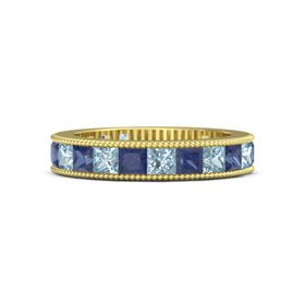14K Yellow Gold Ring with Aquamarine & Sapphire