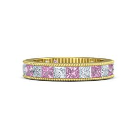 14K Yellow Gold Ring with Pink Tourmaline & Diamond