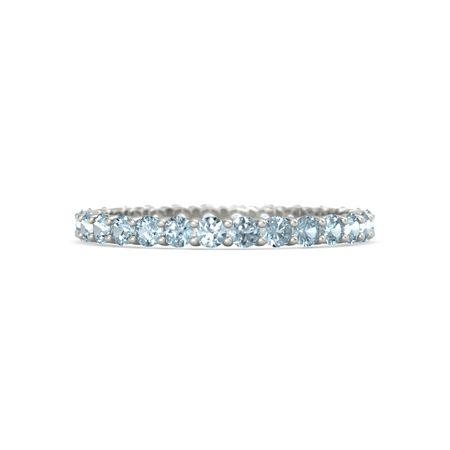 silver pave ring sterling aquamarine cut emerald cz eternity band bands
