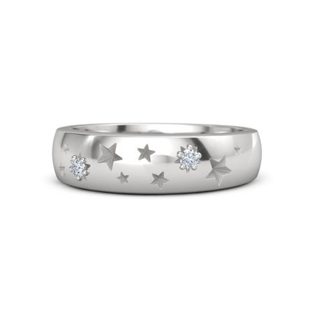 Round Diamond Sterling Silver Ring with Diamond Written in the