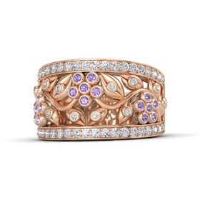 14K Rose Gold Ring with Iolite and Diamond
