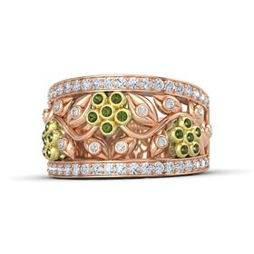 14K Rose Gold Ring with Green Tourmaline and Diamond