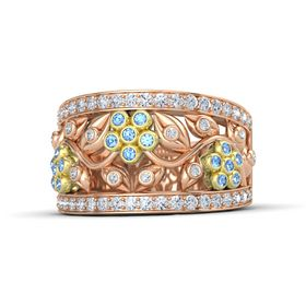 14K Rose Gold Ring with Blue Topaz and Diamond
