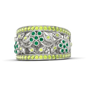 14K White Gold Ring with Emerald and Peridot