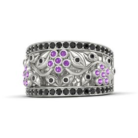 14K White Gold Ring with Amethyst and Black Diamond
