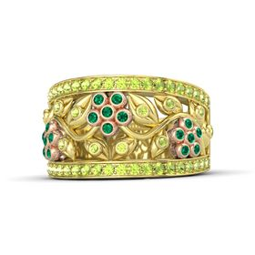 14K Yellow Gold Ring with Emerald and Peridot