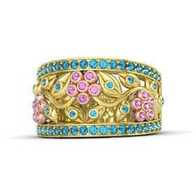 14K Yellow Gold Ring with Pink Sapphire & London Blue Topaz