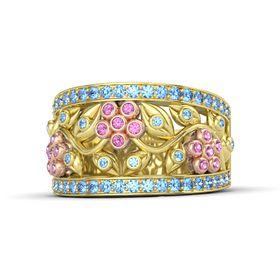 14K Yellow Gold Ring with Pink Sapphire & Blue Topaz