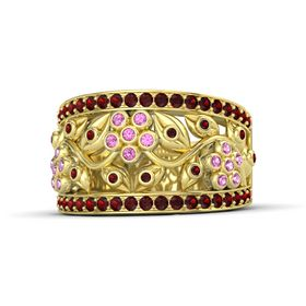 14K Yellow Gold Ring with Pink Sapphire & Red Garnet