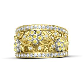 14K Yellow Gold Ring with Yellow Sapphire & Diamond