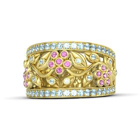 14K Yellow Gold Ring with Pink Sapphire and Aquamarine