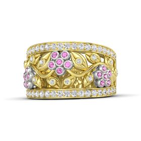 14K Yellow Gold Ring with Pink Sapphire & White Sapphire