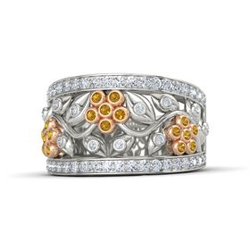 18K White Gold Ring with Citrine and Diamond