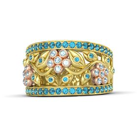 18K Yellow Gold Ring with Aquamarine and London Blue Topaz
