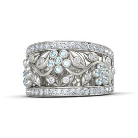 Palladium Ring with Aquamarine and Diamond