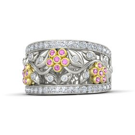 Palladium Ring with Pink Sapphire & Diamond