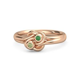 14K Rose Gold Ring with Peridot & Emerald