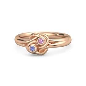14K Rose Gold Ring with Iolite & Pink Tourmaline