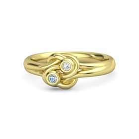 14K Yellow Gold Ring with Aquamarine and White Sapphire
