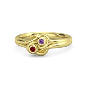 14K Yellow Gold Ring with Ruby and Amethyst