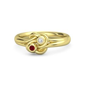 14K Yellow Gold Ring with Ruby & White Sapphire