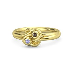 14K Yellow Gold Ring with Tanzanite and Smoky Quartz