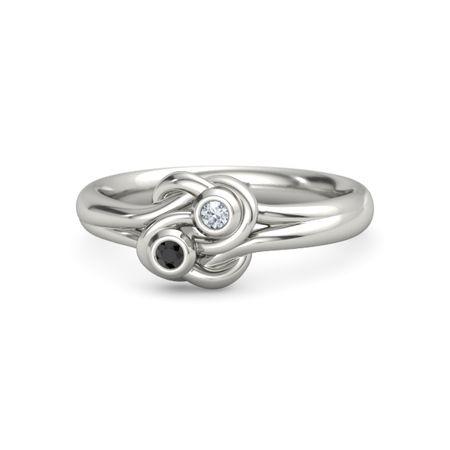 Platinum Ring with Black Diamond & Diamond | Lover's Knot ...