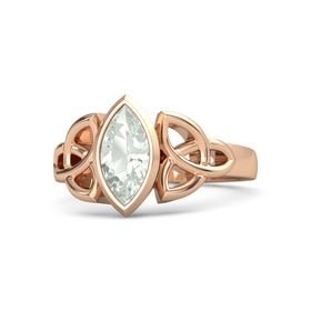 14K Rose Gold Ring with Green Amethyst