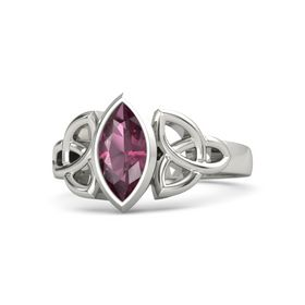 14K White Gold Ring with Rhodolite Garnet
