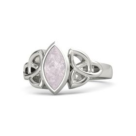 14K White Gold Ring with Rose Quartz
