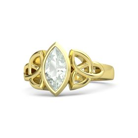 14K Yellow Gold Ring with Green Amethyst