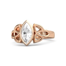 18K Rose Gold Ring with Rock Crystal