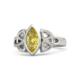 18K White Gold Ring with Yellow Sapphire