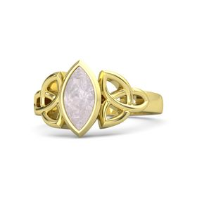 18K Yellow Gold Ring with Rose Quartz