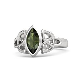 Sterling Silver Ring with Green Tourmaline