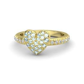 14K Yellow Gold Ring with Aquamarine & Diamond