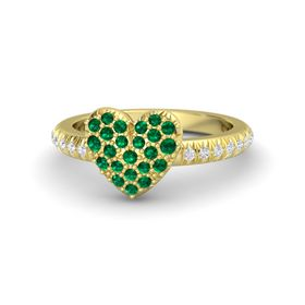 18K Yellow Gold Ring with Emerald & White Sapphire