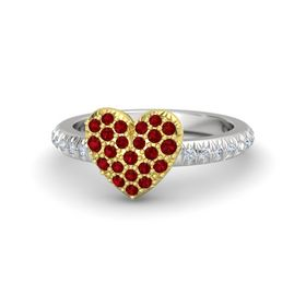 Sterling Silver Ring with Ruby & Diamond
