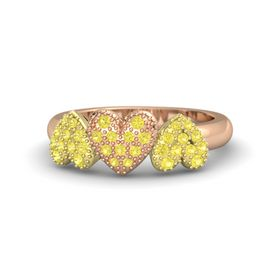 14K Rose Gold Ring with Yellow Sapphire